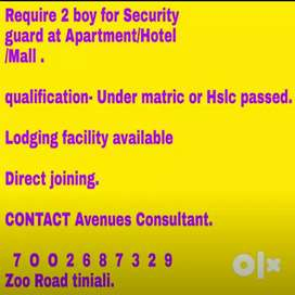Urgently Require Security guard for Flat,Apartment,Hotel ,Office ,