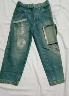 Celana jeans anak PINGU pinggang karet Usia 10-12 tahun