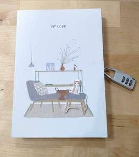 Buku Tulis Diary Gembok Angka Serbaguna Karakter Kucing Kode 4 A5