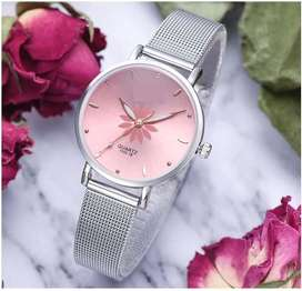 BEAUTIFUL LADIES/WOMEN WATCHES  ALLOY SILVER BELT COLORFUL FLOWER DIAL