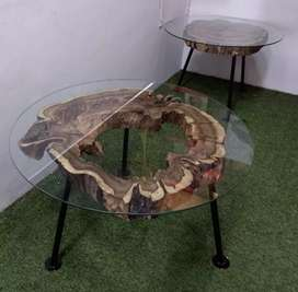 Natural Wooden Glass Top Centre Table