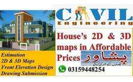 2D and 3D house maps with update designs in Affordable prices