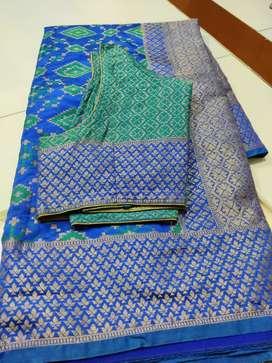 Royal blue patola sari