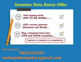 A govt registered company started online data entry process. Available