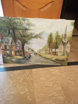 Hand made beautiful painting on canvas along with wooden frame
