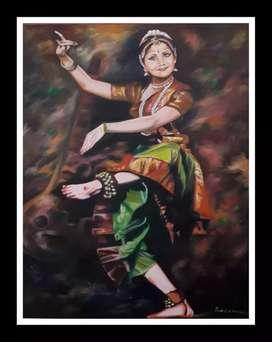 Oil painting kathak girl
