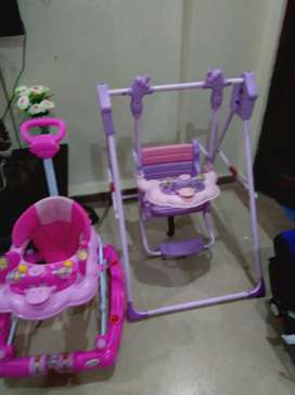 Baby walker and swing set
