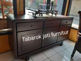 Bufet tv retro minimalis moderen,laci3 pintu 3, P.150cm,  kayu jati