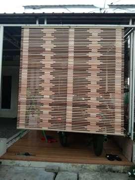 Tirai kulit bambu dan isi bambu dan tirai rotan,tirai kayu motif segi