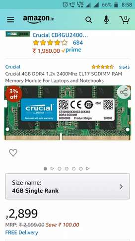 CRUCIAL DDR4 RAM 2400Mhz HAVING 3 YEARS WARRANTY PERIOD