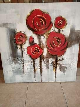 Lukisan Bunga Mawar Merah