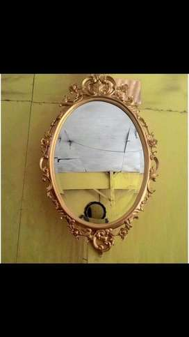 Cermin kaca jati ukir