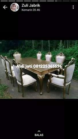 Meja makan Inggris kursi 8