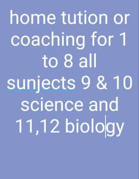 HOME TUTION AND COACHING