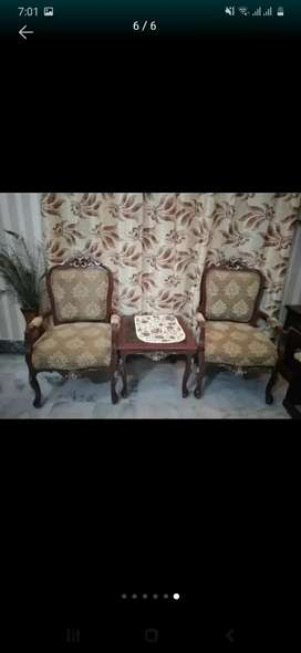 Double bed with mattress sidetables,dressing table,2 chairs with table