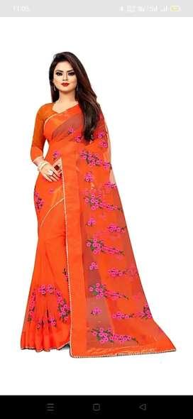 Net saree embroider work