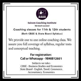 Online coaching classes for class 11 and 12 students(commerce group)