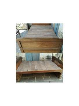 Wooden bed.