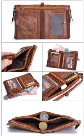 Dompet pria cowok kulit Asli Sapi dompet kartu dompet stnk Original ID