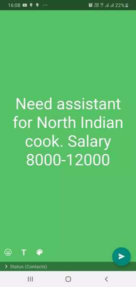 Need assistant cook