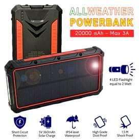 AllWeather Wireless Solar Powerbank 20000 mAh Waterproof 3A Charger -