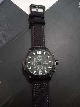 Swiss army chrono on full black date on strap canvas