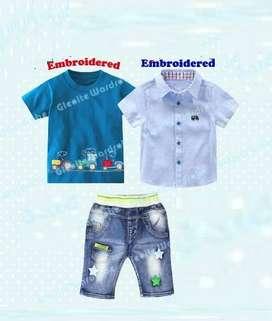 Jual Setlan import anak setelan kemeja biru kaos celana jeans anak