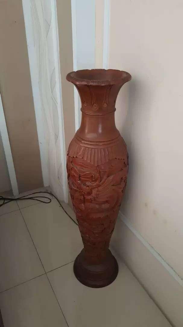 Pot kayu jati asli jepara ukiran naga 0