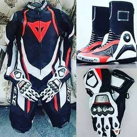 leather motorcycle riding suit,gloves an boots