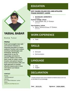 Require Home Tutor /  Home Tutor / Male Home Tutor Class KG to Matric