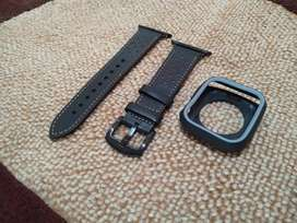 Strap Leather apple watch dan soft case