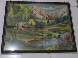 Lukisan sulam kristik pemandangan