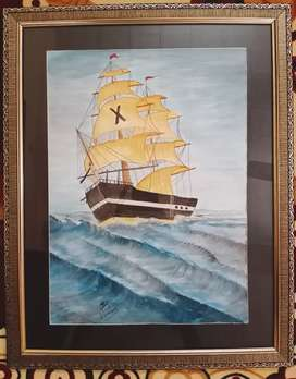 Hand made Sailing Ship water color painting