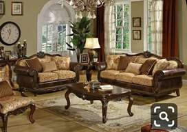 3+2 Royal curved wooden sofa set with 5 years of warranty