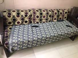 Pure wooden sofa cum bed with mattesses