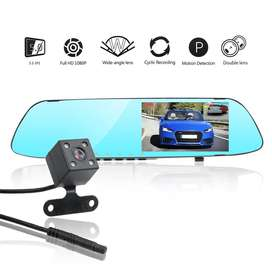 Car DVR with 2 cameras and LED Mirror dashcam