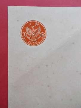 Kertas Segel Kuno Rp 3 Tahun 1963 Single