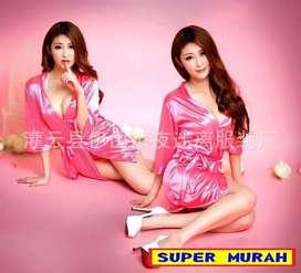 Baju Tidur PINK Dress Bahan Lace Lengan Panjang Lembut Halus Nyaman
