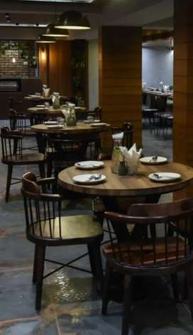 Round wooden dining table for 4 with chairs