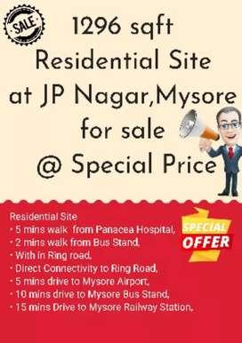 1296 sq ft residential site at JP nagar, Mysore North facing