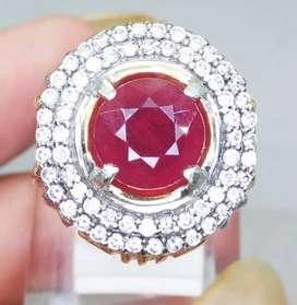 Batu Cincin Merah Delima Ruby Lingkaran kode B588