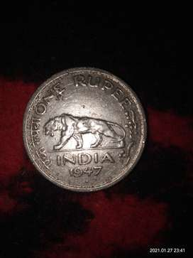 1947, INDIAN SILVER ONE RUPEE COIN