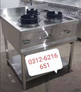 Chinese stove table 3 burners SS non magnet