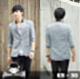 Blazer Grey 3/4 Sleeve Korean Style