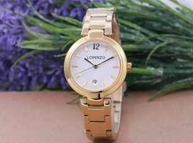 jam tangan lorenzo putih gold tanggal aktif 32mm