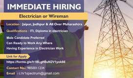 We are hiring  Electrician or Wireman