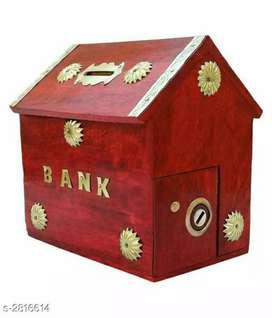 New beautiful attractive wooden piggy bank