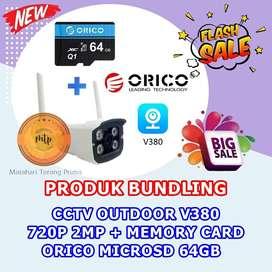 CCTV OUTDOOR V380 720P 2MP + MEMORY CARD ORICO MICROSD 64GB HEMAT