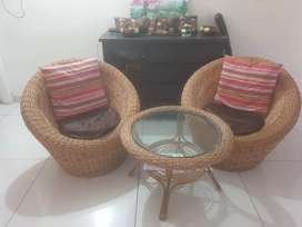 Natural Color Bamboo Cane chair set 2+1