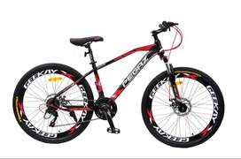 GEEKAY 21 GEAR MOUNTAIN BICYCLE PEGAZ BLACK AND RED COLOUR